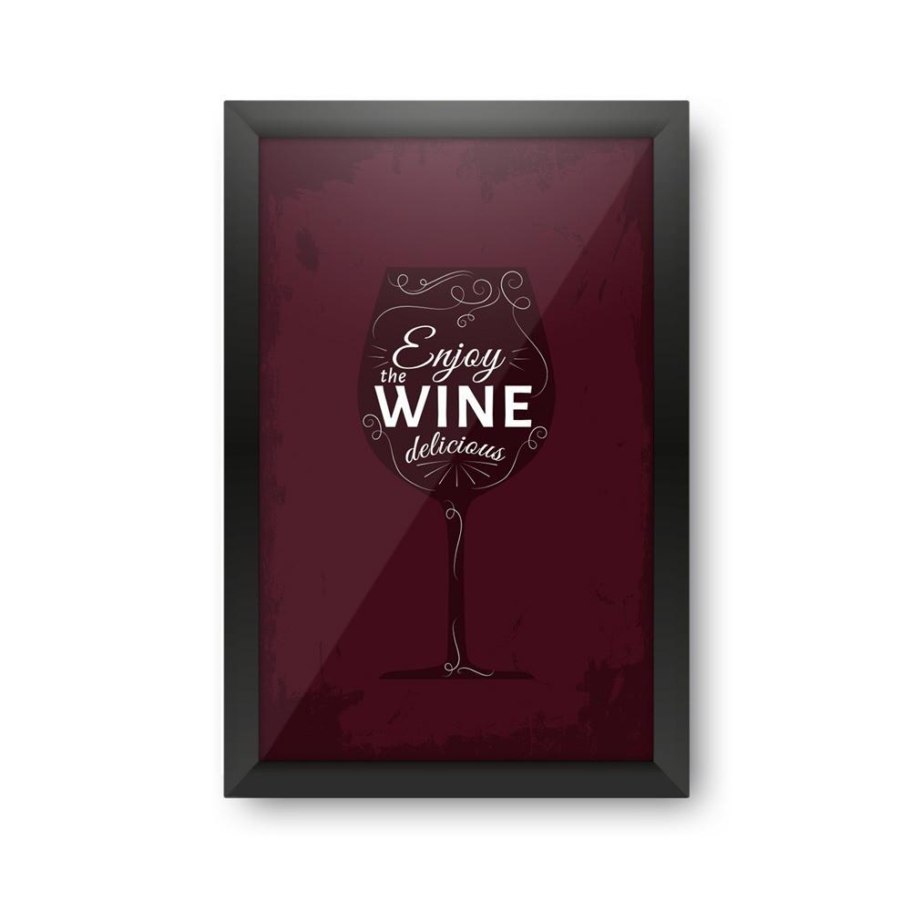 """Quadro Porta Rolhas de Vinho """"Enjoy The Wine, Delicious"""""""