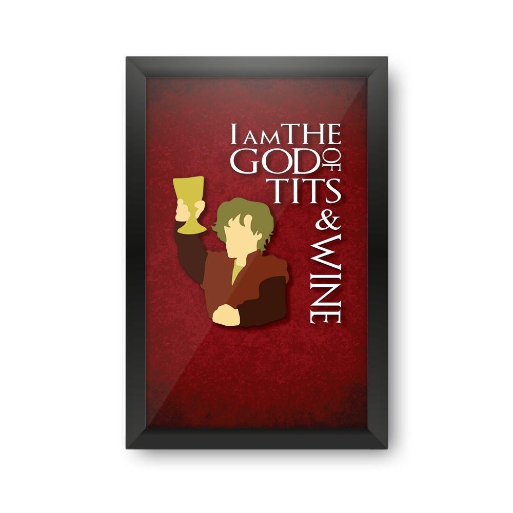"""Quadro Porta Rolhas de Vinho """"I Am The God Of Tits & Wine"""""""