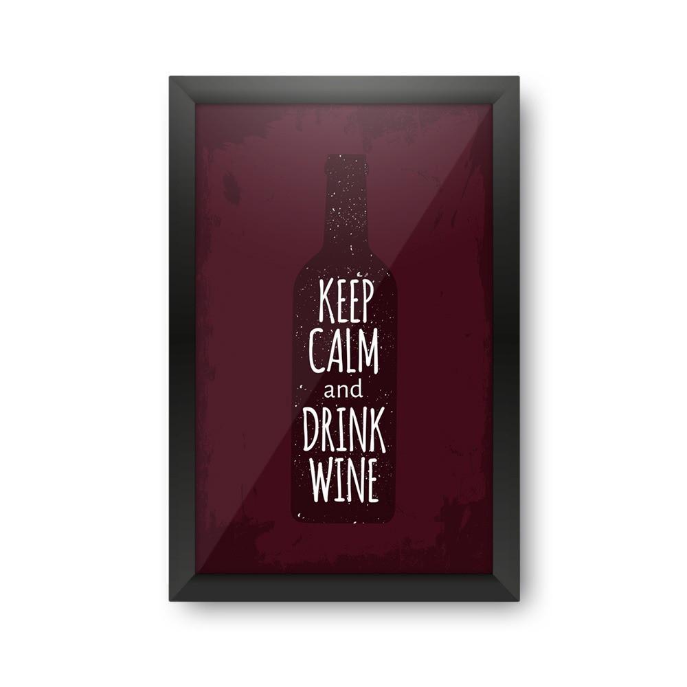"""Quadro Porta Rolhas de Vinho """"Keep Calm And Drink Wine"""""""