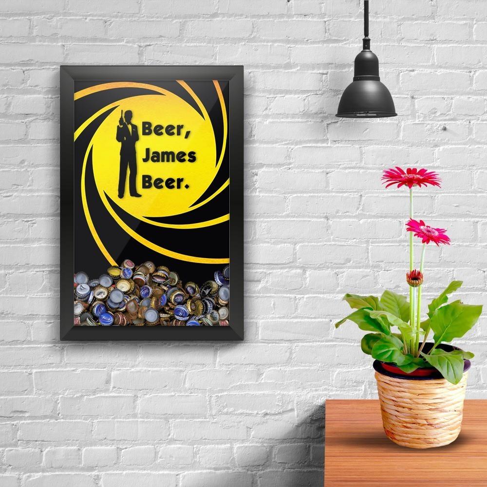 """Quadro Porta Tampinha """"Beer James Beer"""": 007"""