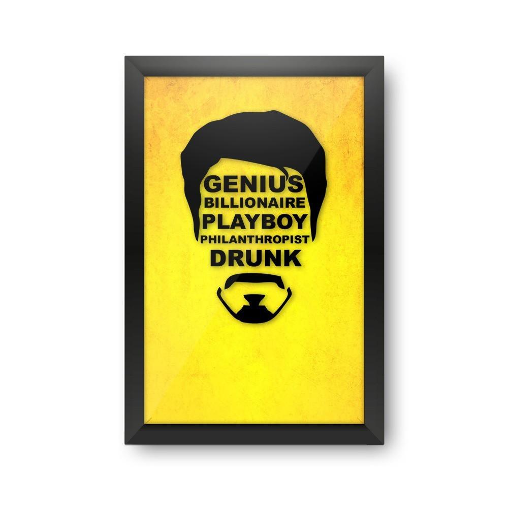 "Quadro Porta Tampinha ""Genius Billionare Playboy Philanthropist Drunk"": Tony Stark"