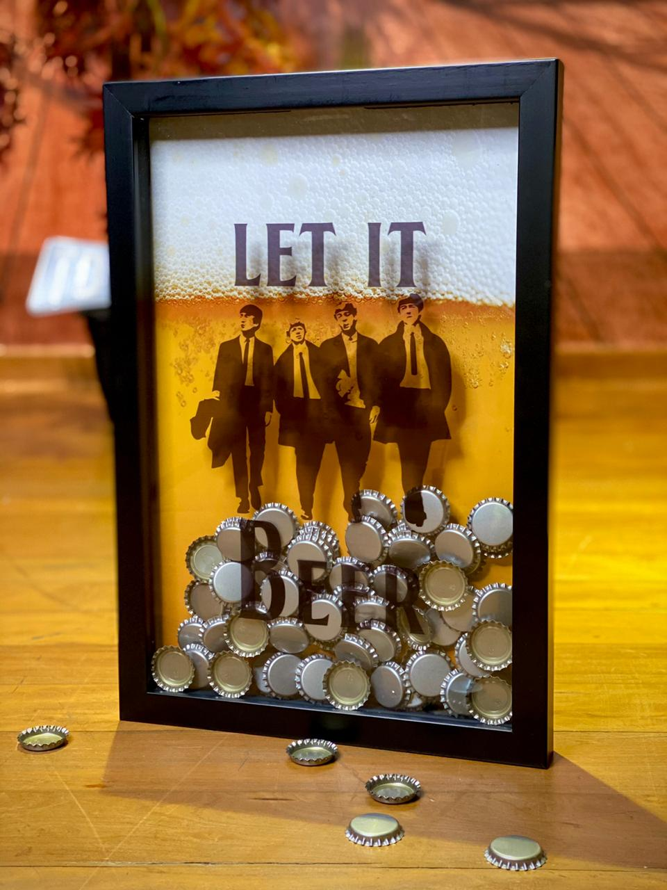 Quadro Porta Tampinhas Let it Beer: The Beatles