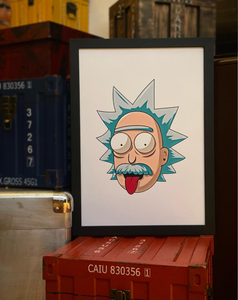 "Quadro Ricky ""Einstein"": Rick e Morty - 46x33 - EV"