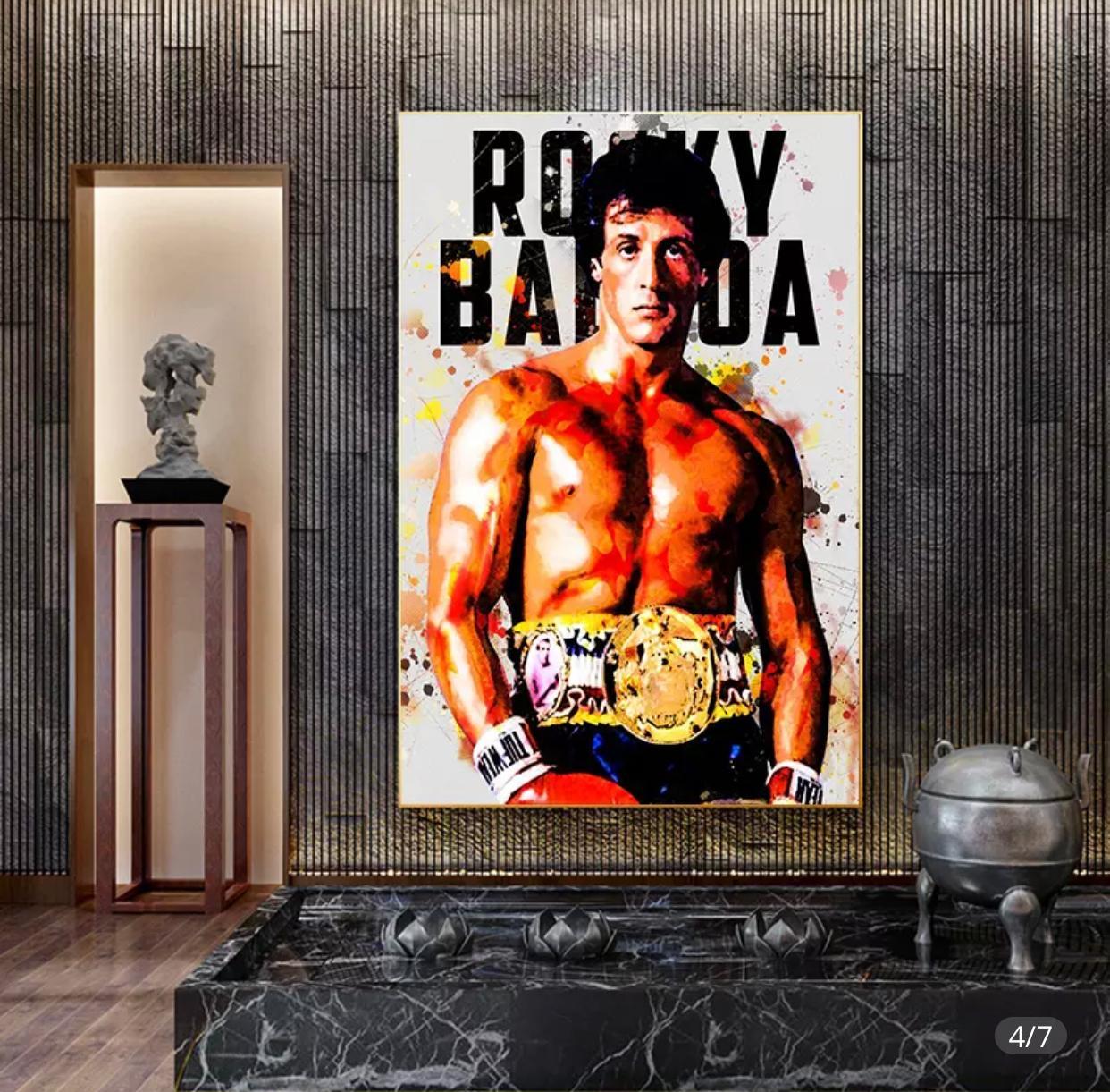 Quadro Rock Balboa: Rocky Canvas Moldura Premium 60X80cm - EV