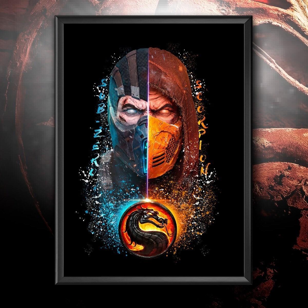 Quadro Subzero e Scorpion: Mortal Kombat 46x33cm