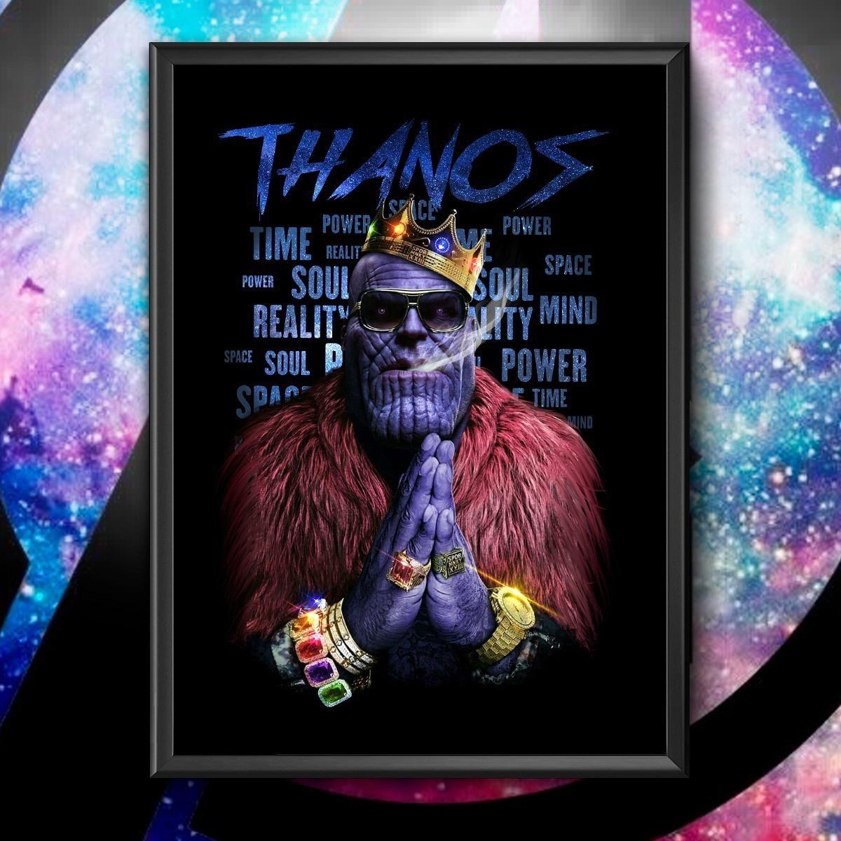 Quadro com Moldura Thanos Gângster Marvel 46x33 - EV