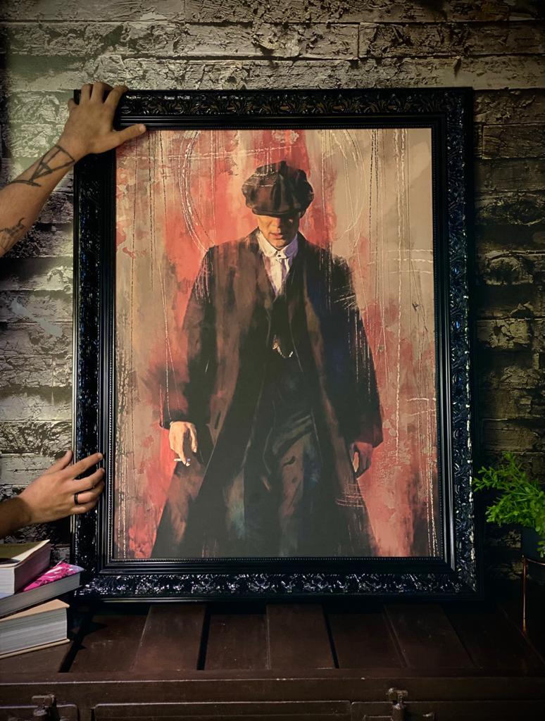 Quadro Thomas Shelby: Peaky Blinders Canvas Moldura Premium 74x93cm