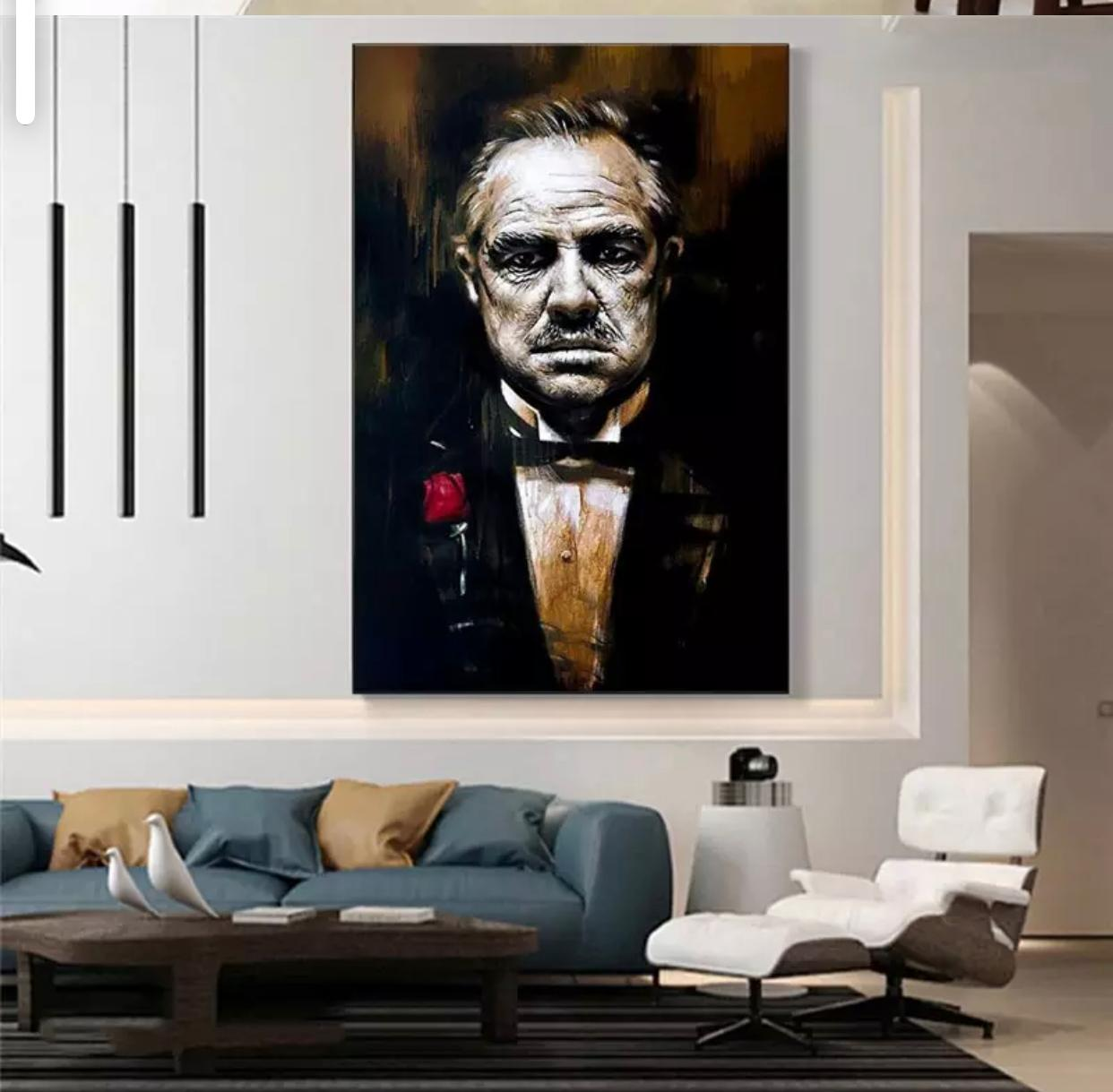 Quadro Vito Corleone: O Poderoso Chefão Canvas Moldura Premium 74x93cm - EV
