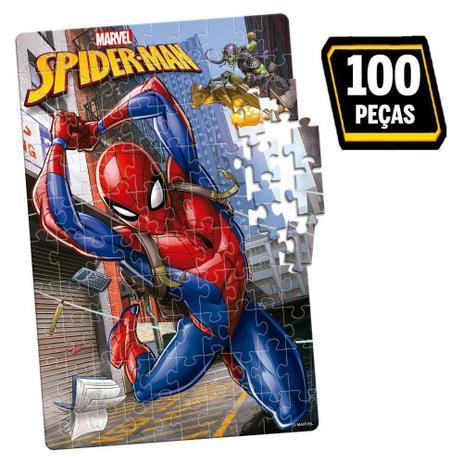 Quebra-Cabeça Homem Aranha Marvel: 100 Peças Brinquedo Educativo - Hasbro