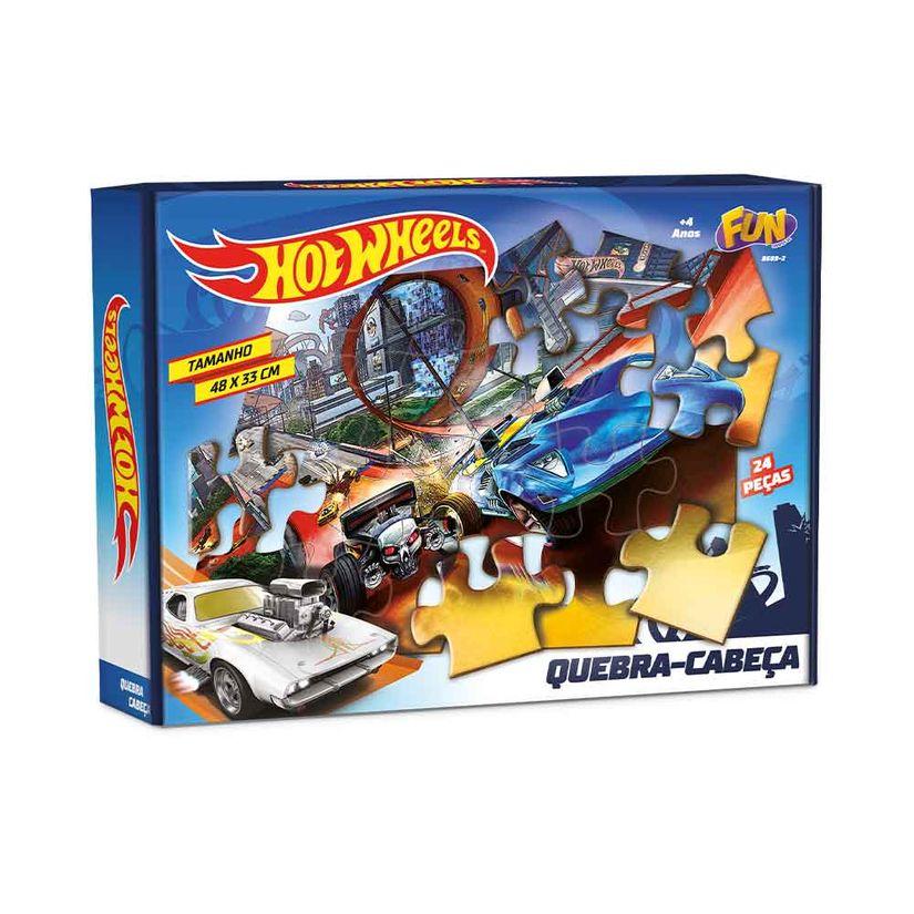 Quebra-Cabeça Hot Wheels: 24 Peças 48 x 33 - Fun