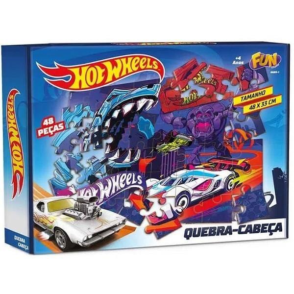 Quebra-Cabeça Hot Wheels: 48 Peças 48 x 33 - Fun