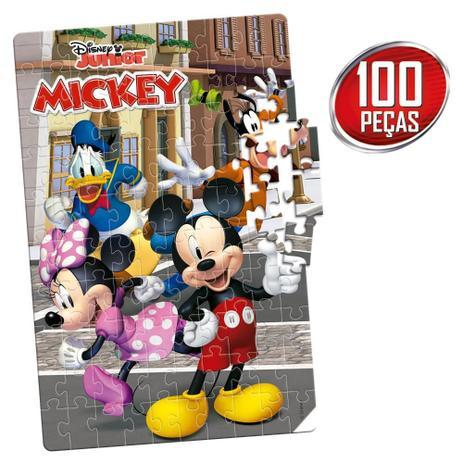 Quebra-Cabeça Mickey Disney Junior: 100 Peças Brinquedo Educativo - Hasbro