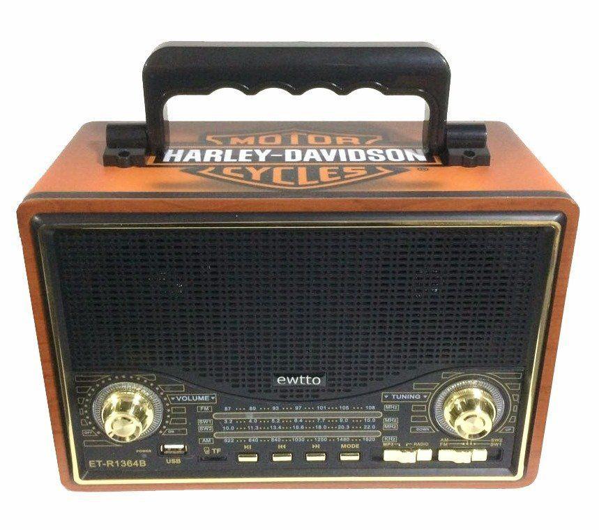 Rádio Vintage Harley Davidson Preto