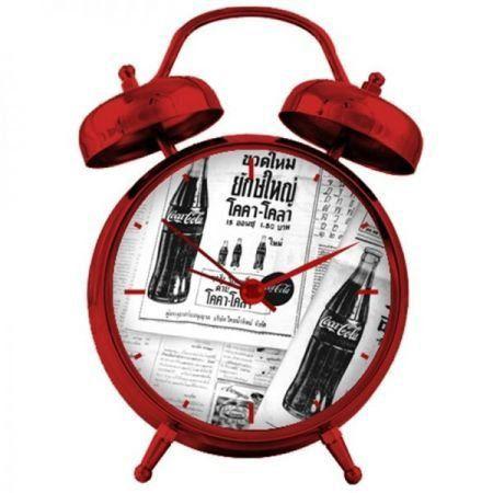Relógio de Mesa Coca-Cola Metal Newspaper Branco e Preto