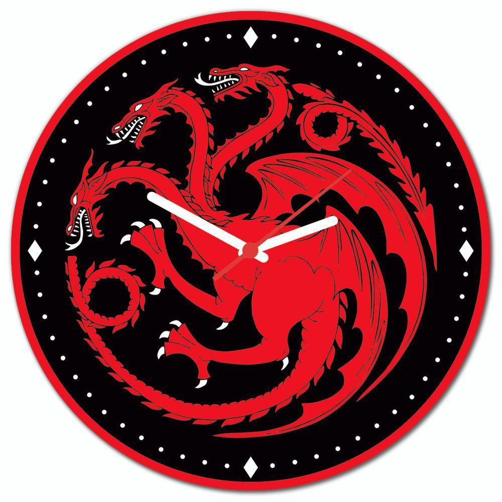 Relógio de Parede Casa Targaryen: Game of Thrones