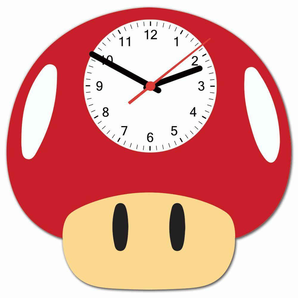 Relógio de Parede Cogumelo Vermelho: Super Mario Bros.