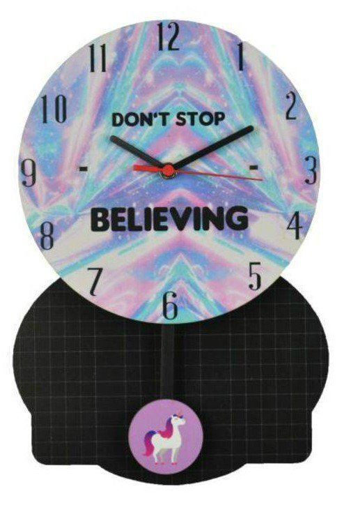 Relógio de Parede com Pêndulo Unicórnio: Don't Stop Believing