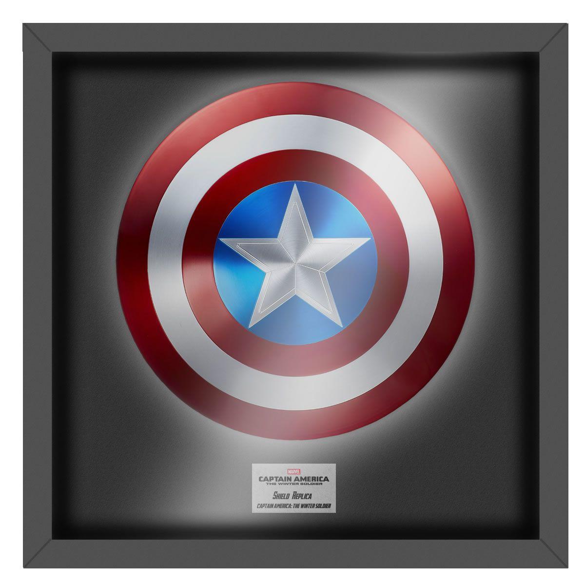 Réplica Em Metal Escudo Capitão América (Com Moldura): Marvel - Escala 1/1