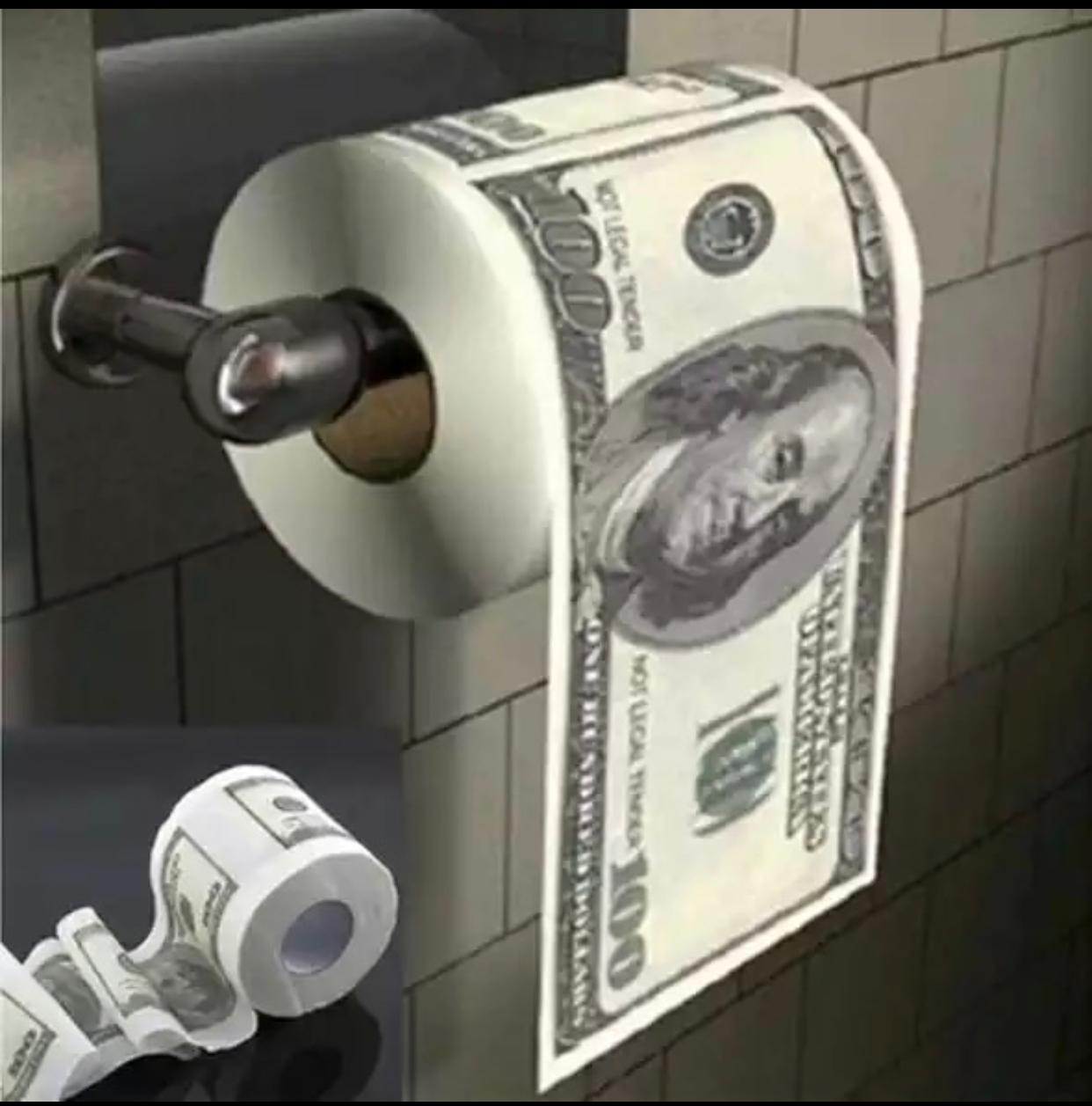 Rolo de Papel Higiênico 100 Dólares Dolar Benjamin Franklin - EV