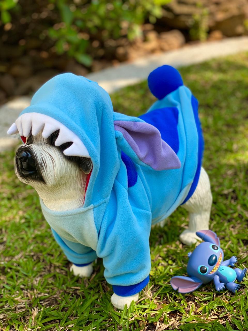 Roupa Fantasia Pet Lilo & Stitch: Stitch (Cachorro) (Gato) (Com Capuz)