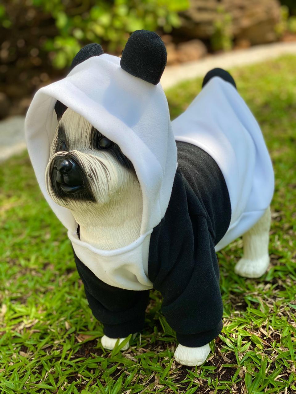 Roupa Fantasia Pet Panda (Cachorro) (Gato) (Com Capuz)