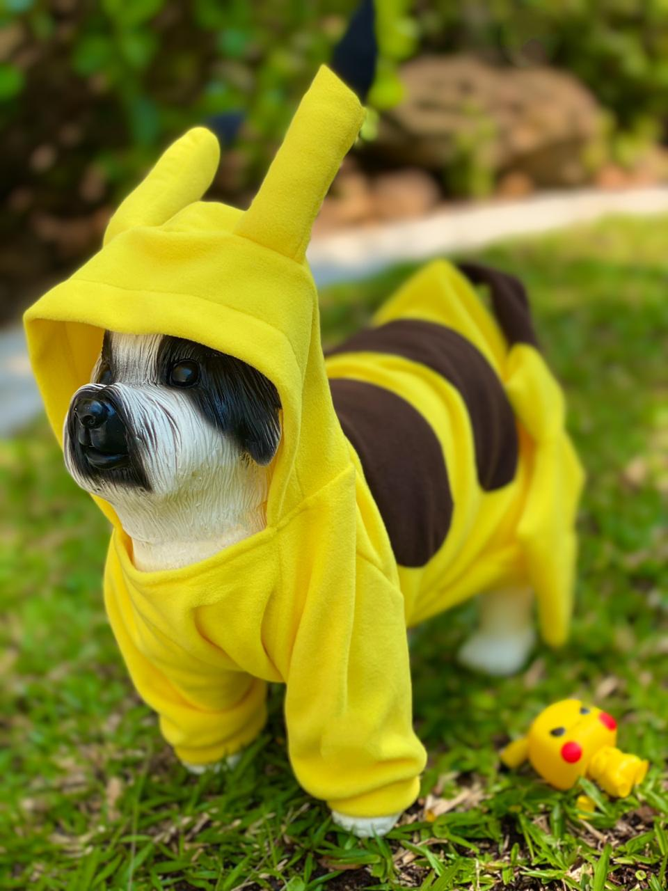 Roupa Fantasia Pet Pikachu: Pokémon (Cachorro) (Gato) (Com Capuz)