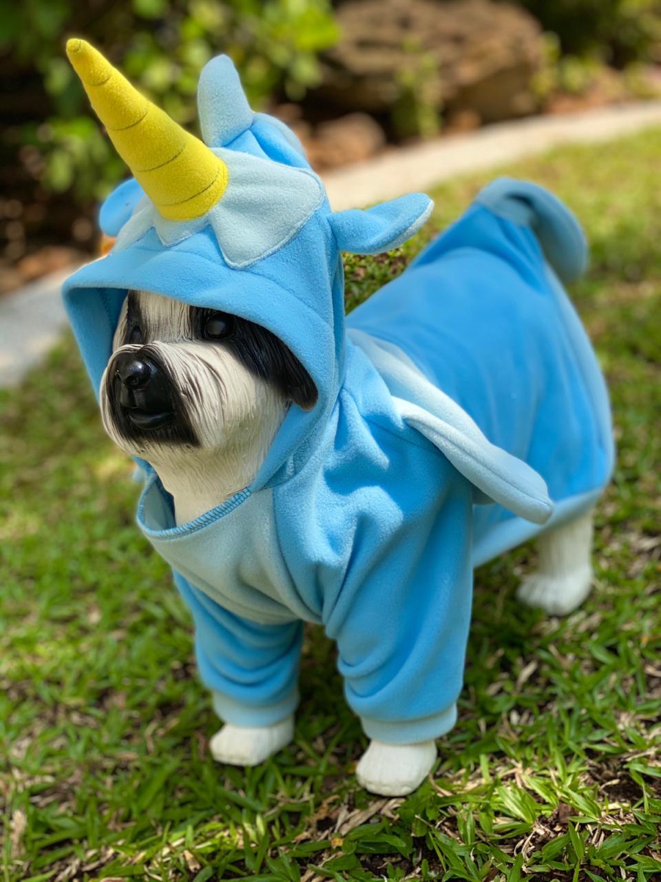 Roupa Fantasia Pet Unicórnio Azul (Cachorro) (Gato) (Com Capuz)