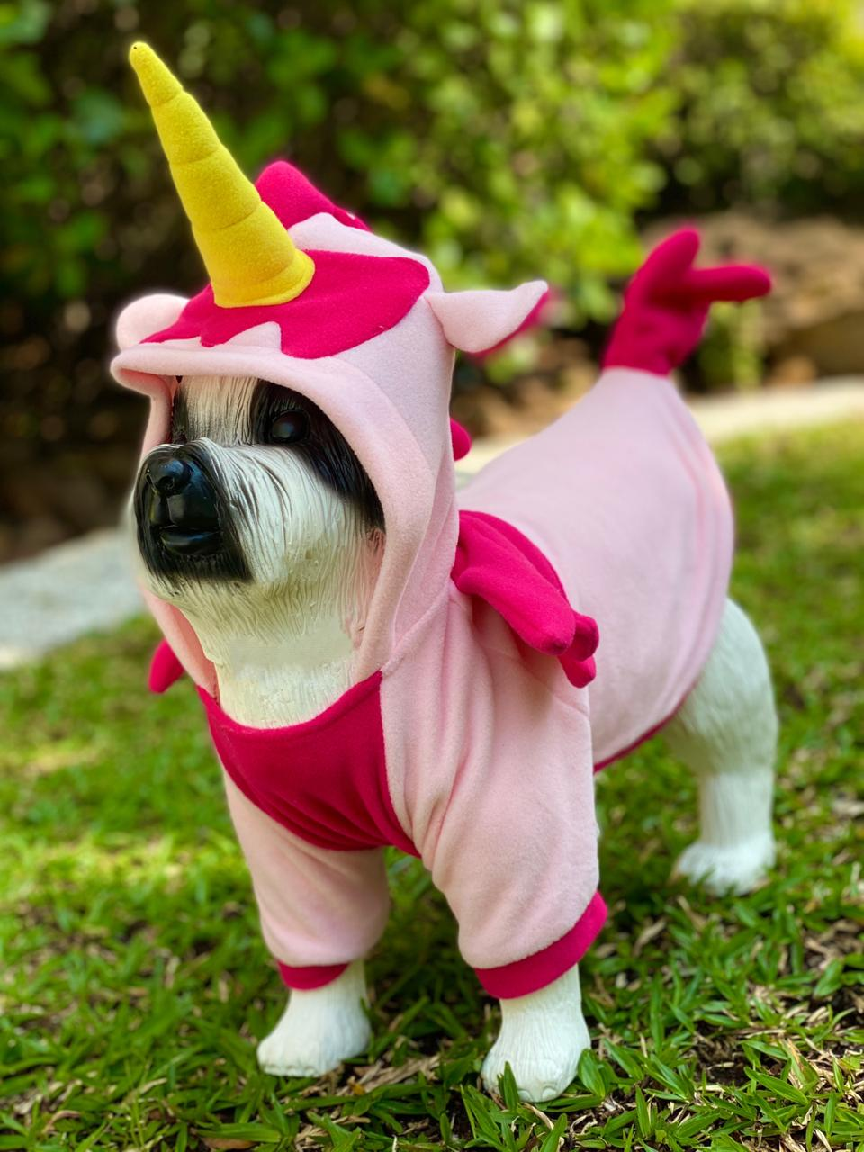 Roupa Fantasia Pet Unicórnio Rosa (Cachorro) (Gato) (Com Capuz)