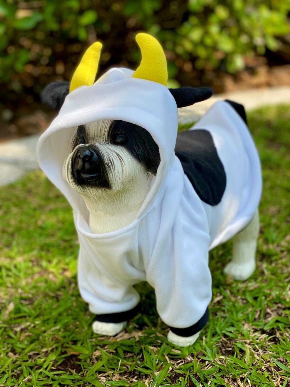 Roupa Fantasia Pet Vaquinha (Cachorro) (Gato) (Com Capuz)