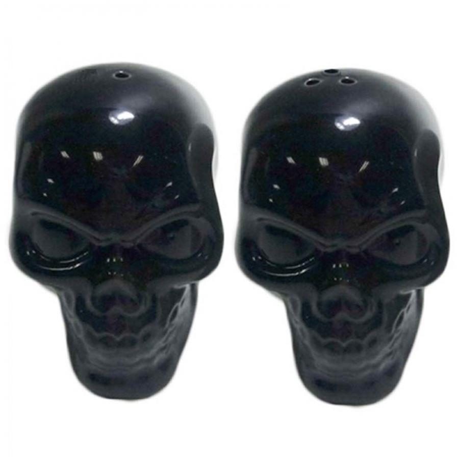 Saleiro e Pimenteiro Cerâmica Skulls Preto Set com 2 pçs - Urban