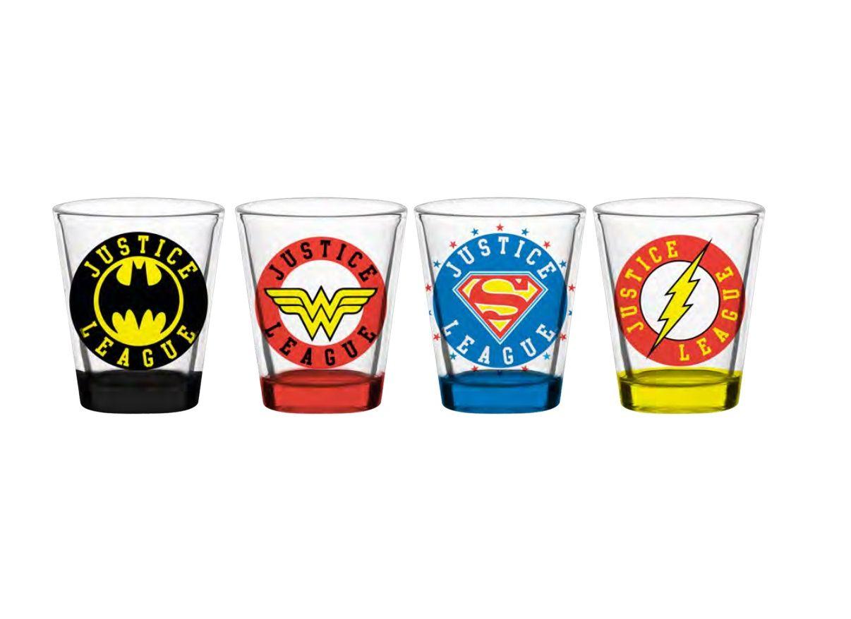 Set 4 Copos Dose Logo Heróis: Liga da Justiça (Justice League) (50ML)