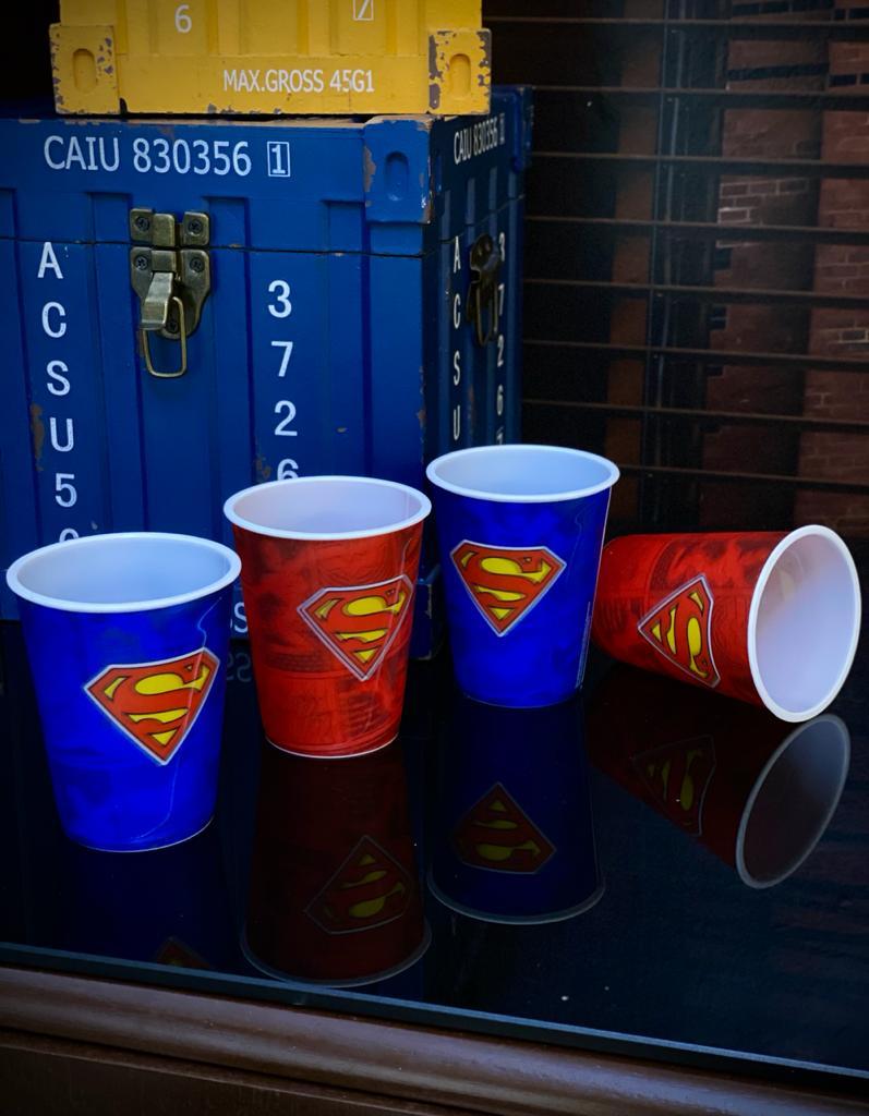 Set 4 Peças Copos 3D: Superman Dc Comics - 400ml