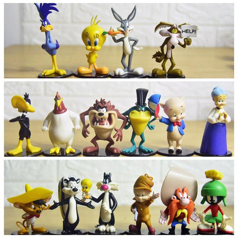 Set Com 16 Peças Colecionáveis Personagens Pernalonga Patolino Frajola Taz Piu-Piu Looney Tunes 8 cm - MKP