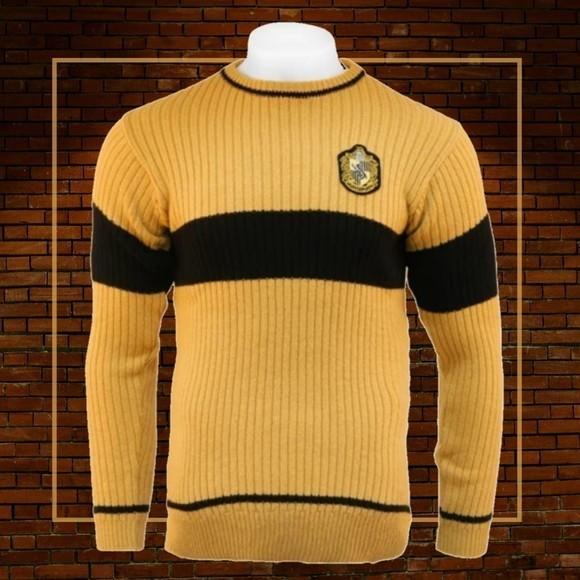 Suéter Lufa-Lufa (Hufflepuff): Harry Potter (Preto E Amarelo)