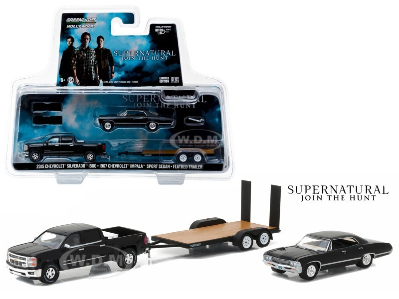 Supernatural: 2015 Chevrolet Silverado 1500 and 1967 Chevrolet Impala Sport Sedan on Flatbed Trailer - Greenlight