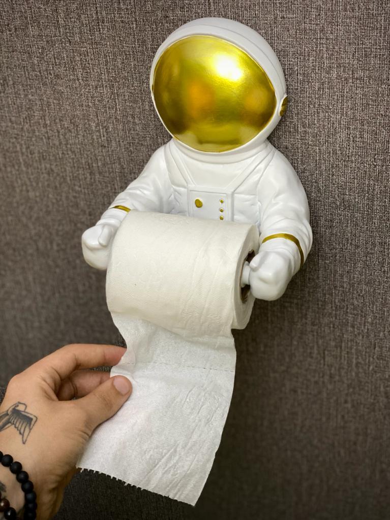 Suporte Geek Para Papel Higiênico Nasa Astronauta Lente Dourada - EV