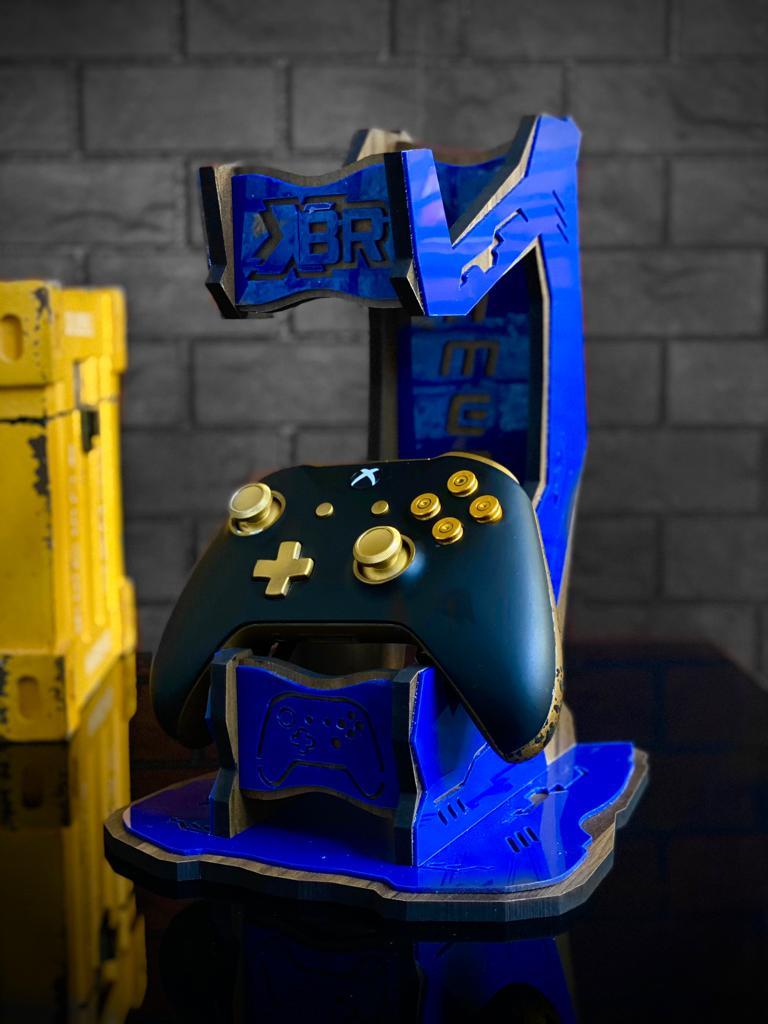 Suporte Para Controle de Vídeo Game e Fone Gamer Azul - EV