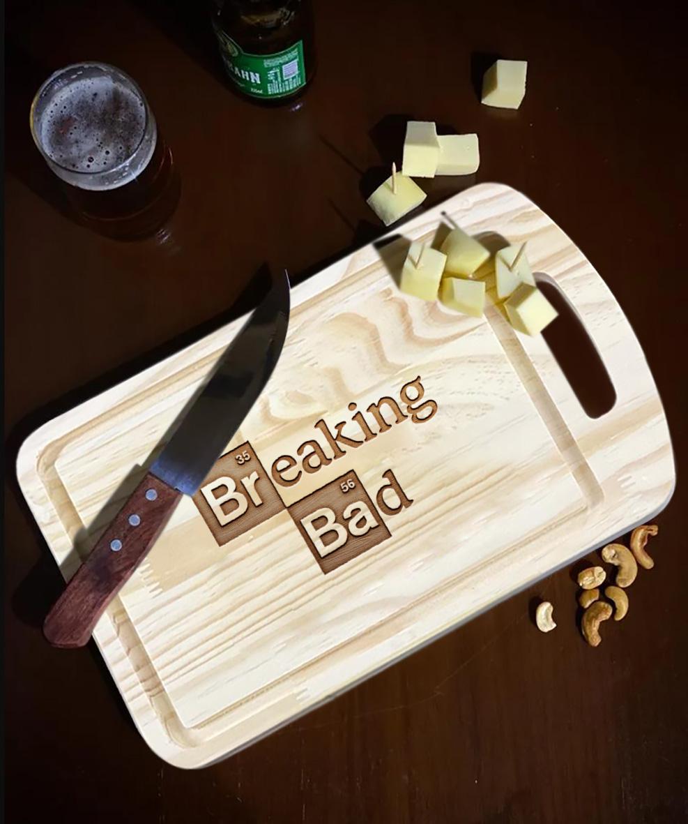 Tábua de Carne de Madeira Breaking Bad Logo Netflix - EV