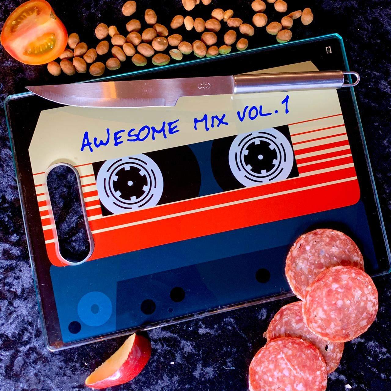 Tábua de Carne de Vidro Awesome Mix Vol.1: Guardiões da Galáxia (35x25cm)