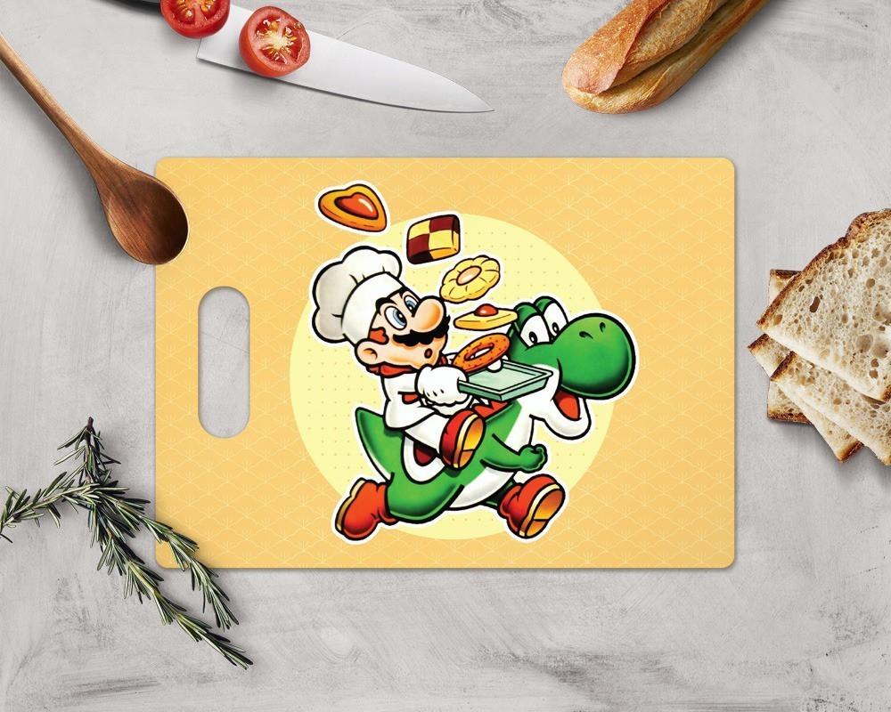 """Tábua de Carne de Vidro """" Chef Super Mario & Yoshi"""": Super Mario World (35x25cm)"""