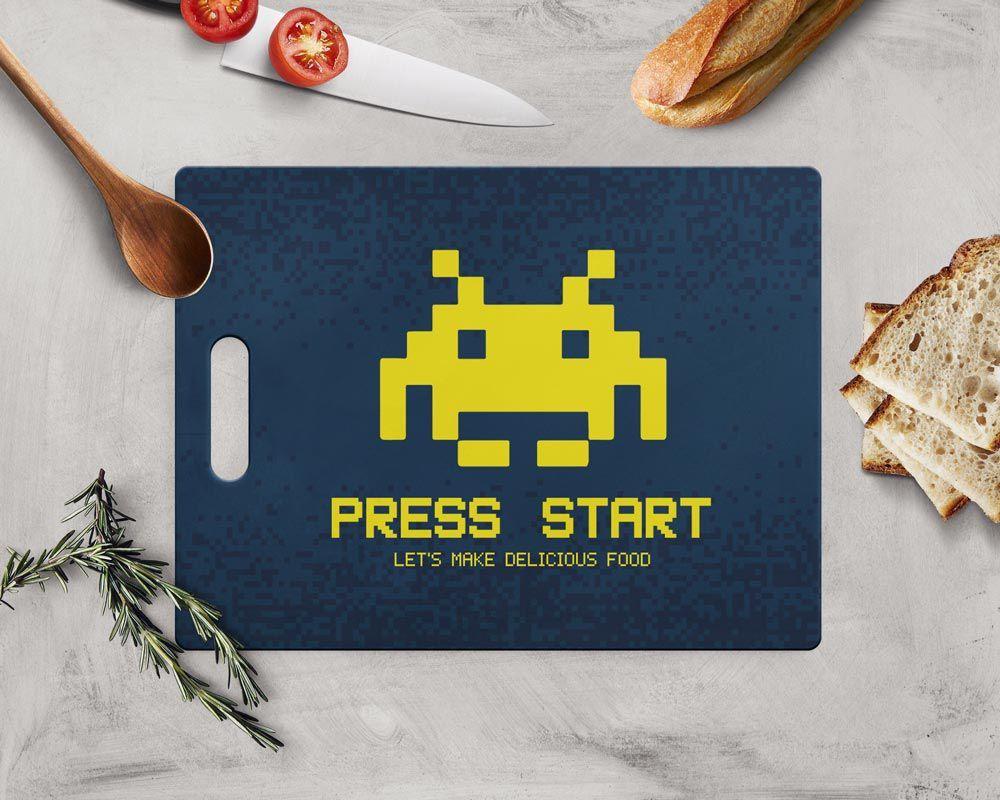 Tábua de Carne de Vidro Press Start: Space Invaders (35x25cm)