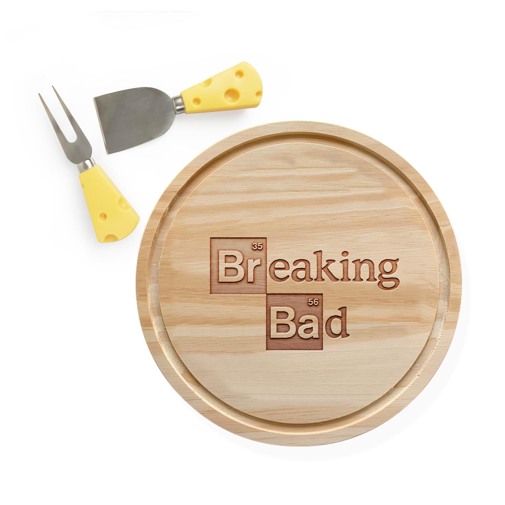 Tábua de Madeira e Espátula de Queijo Breaking Bad Logo Netflix - EV