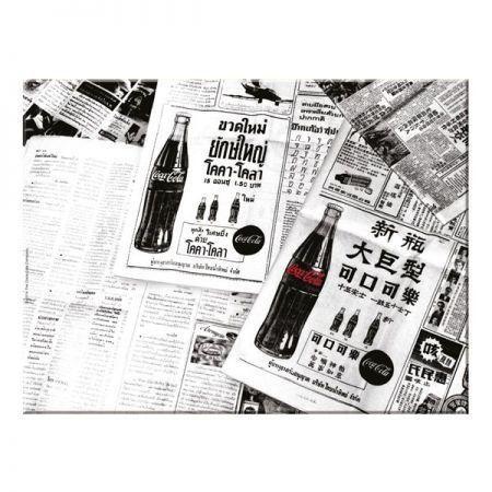 Tabua Vidro Coca-Cola Newspaper Preto e Branco Grande