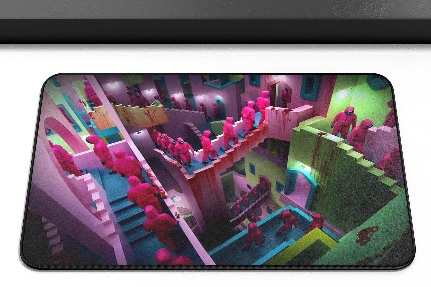 Tapete Capacho Poliéster Round 6 Squid Game Escada Relatividade Netflix - EV