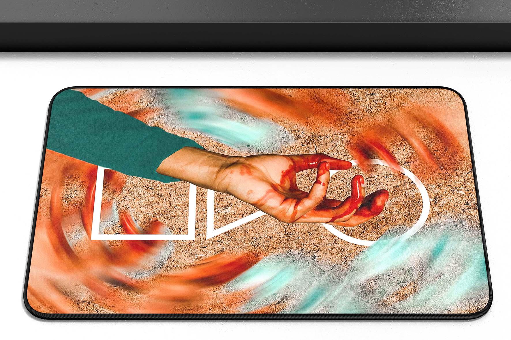 Tapete Capacho Poliéster Round 6 Squid Game Símbolos Mão Netflix - EV