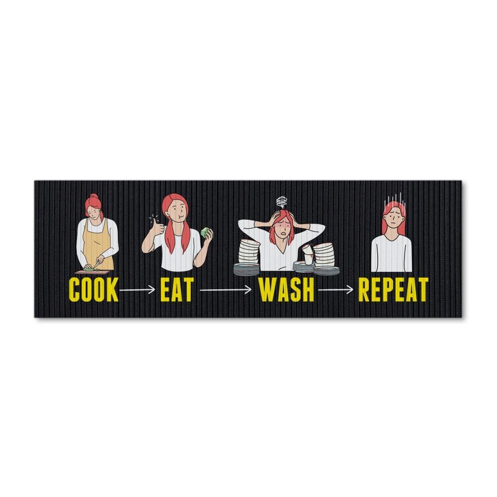 """Tapete de Cozinha """"Cook, Eat, Wash, Repeat"""" (Cozinhar, Comer, Lavar, Repetir)"""