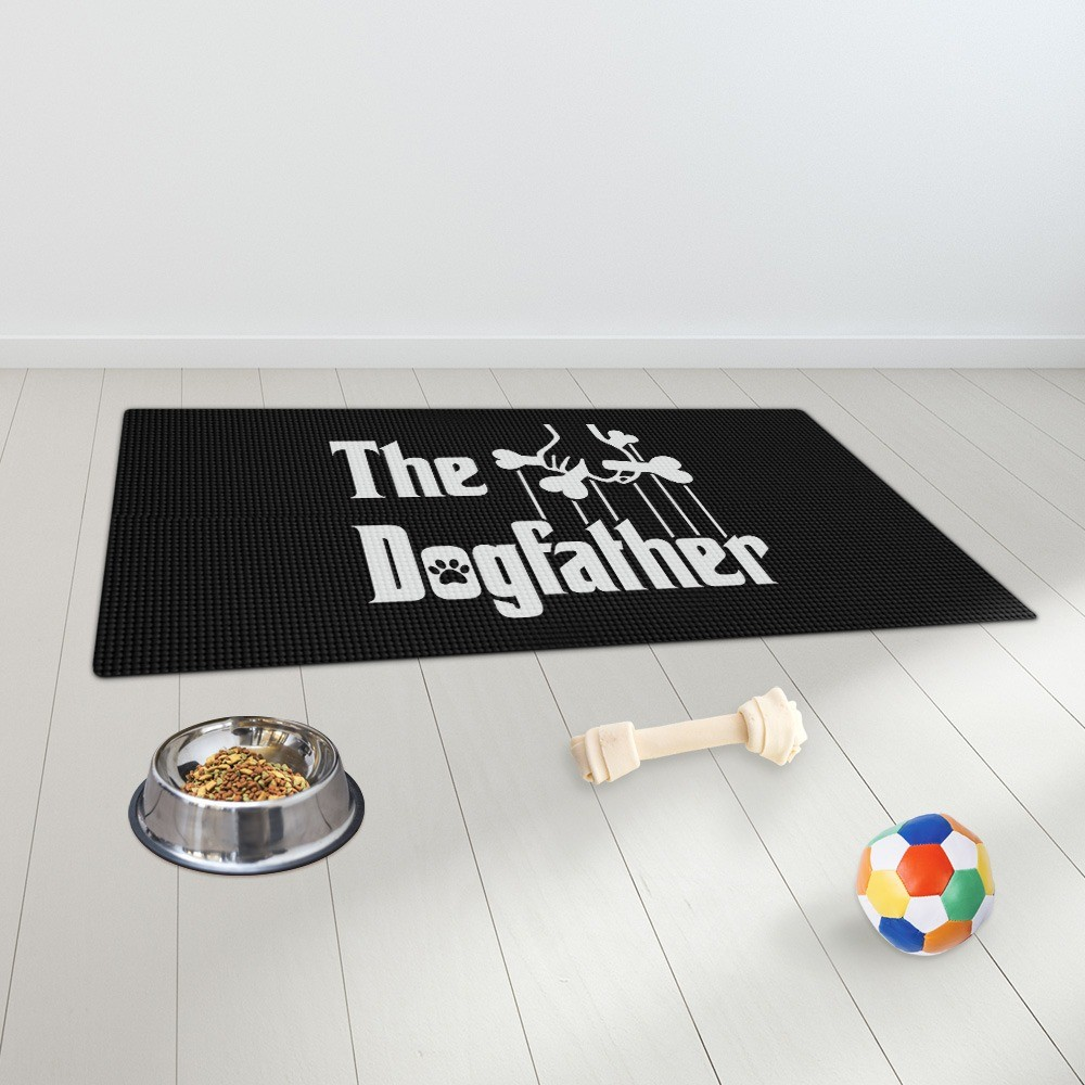 "Tapete Pet Impermeável (Cachorro, Gato, Alimentação): ""The Dogfather"" (Grande)"