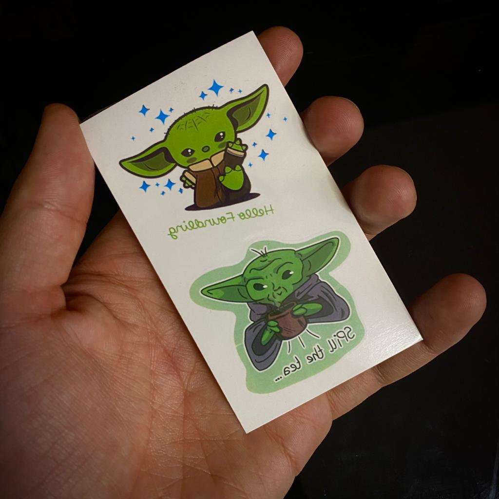 Tatuagem Tattoo Baby Yoda Groga e Yoda: Star Wars 5cm Disney+
