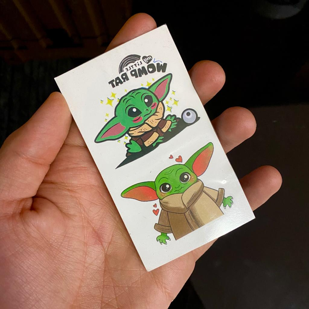 Tatuagem Tattoo O Mandaloriano The Mandalorian Grogu Baby Yoda My Little Womp Rat: Star Wars 5cm Disney+
