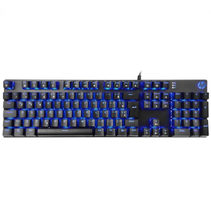 Teclado Mecânico Gamer Switch Azul Chumbo Blue LEDGK400F USB Preto - HP - CD